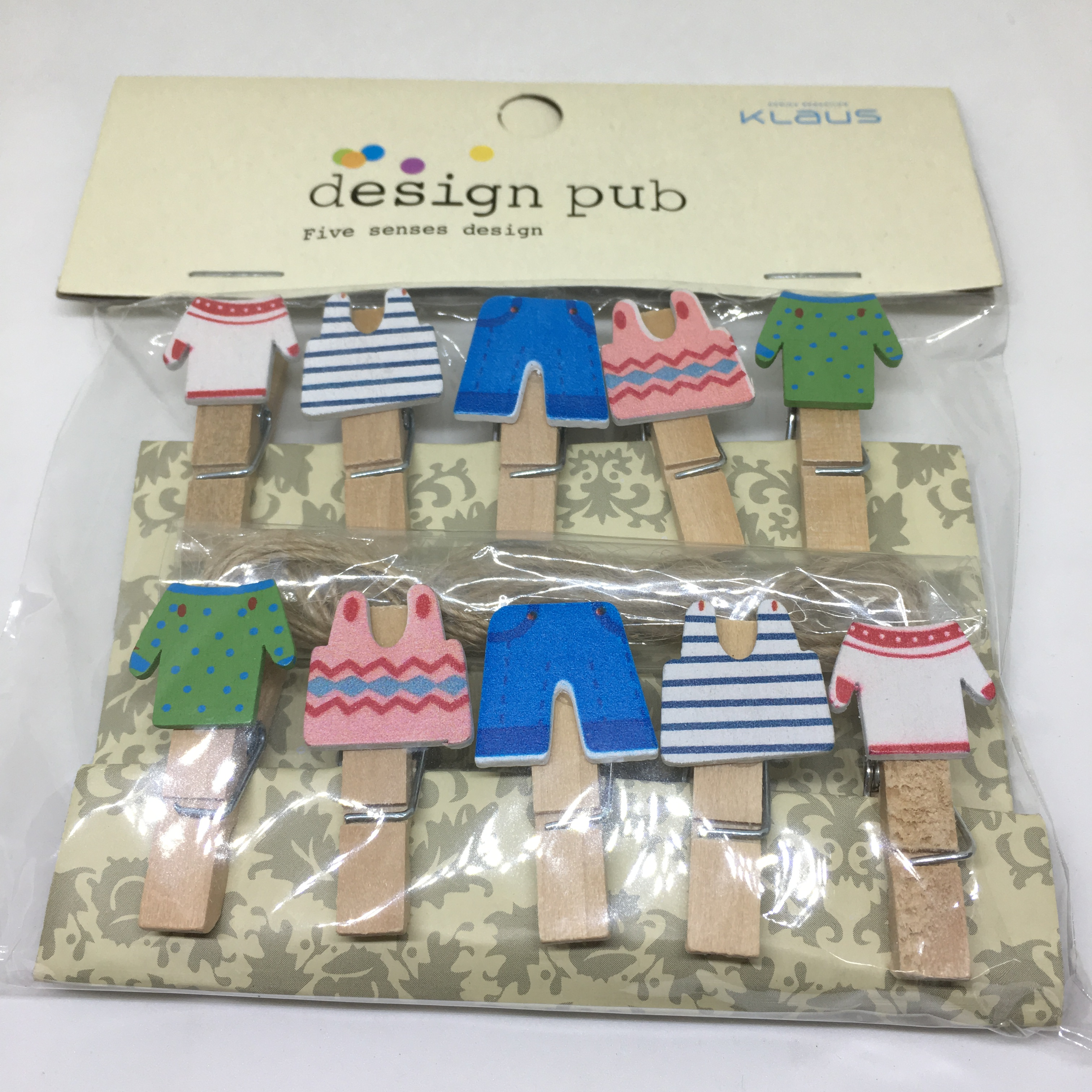 Mini Wooden Pegs With Rope Mini Clothes Design